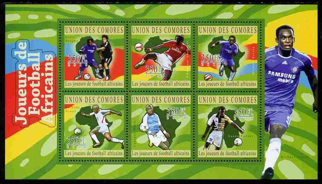 Comoro Islands 2010 African Football Players perf sheetlet containing 6 values unmounted mint