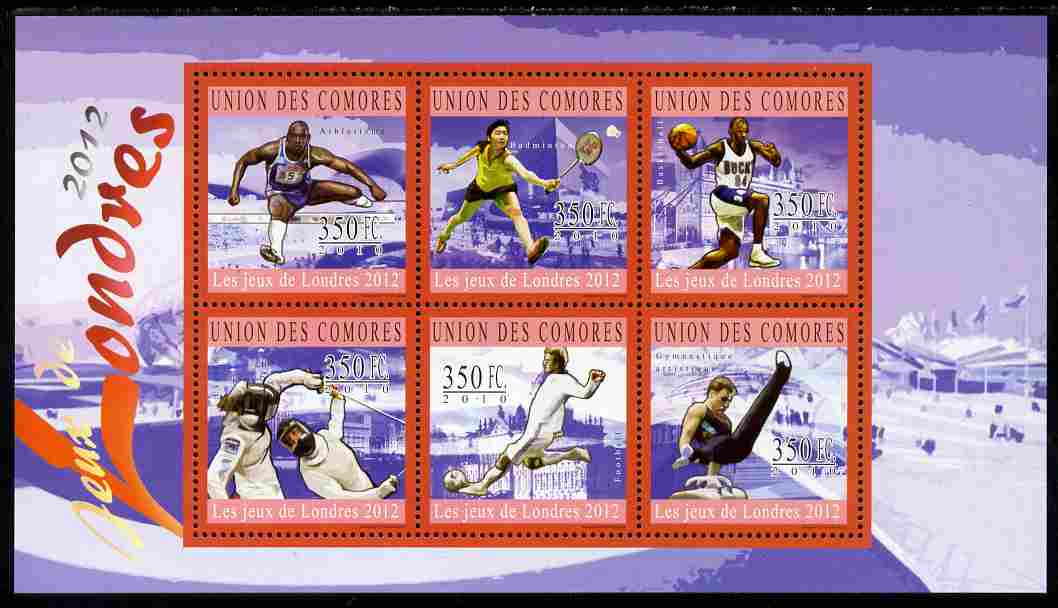 Comoro Islands 2010 London Olympic Games perf sheetlet containing 6 values unmounted mint
