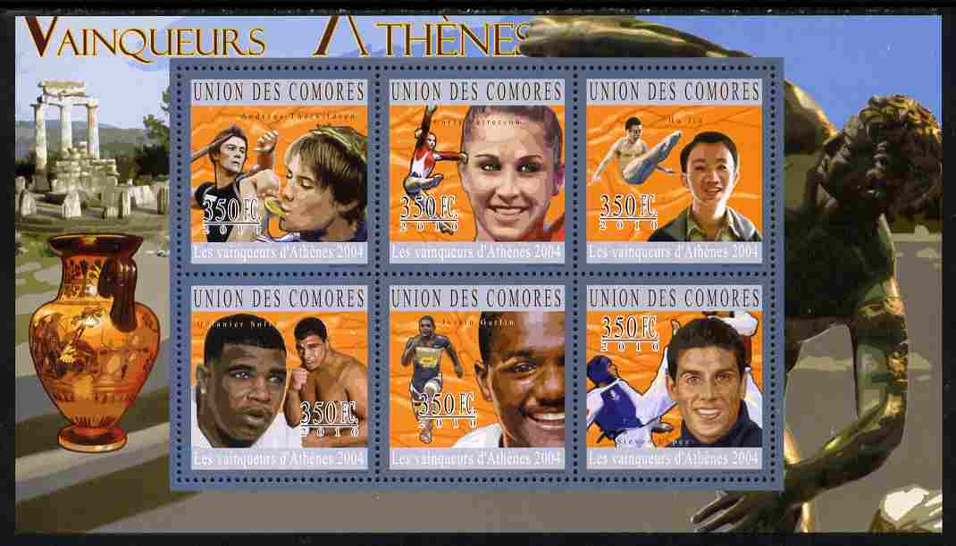 Comoro Islands 2010 Athens Olympic Winners perf sheetlet containing 6 values unmounted mint