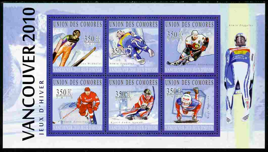 Comoro Islands 2010 Vancouver Winter Olympics perf sheetlet containing 6 values unmounted mint