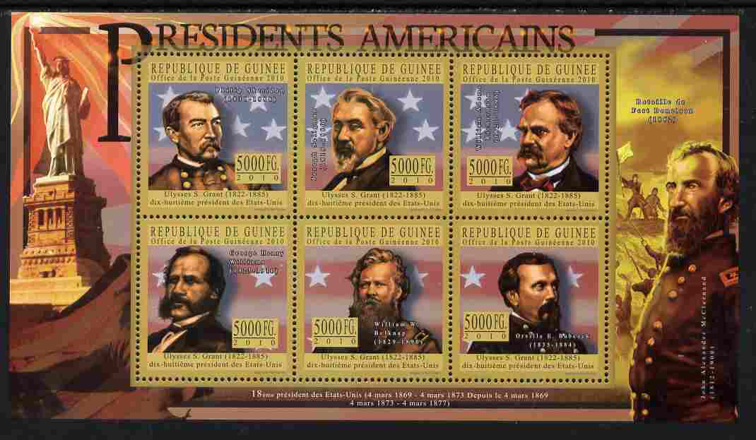 Guinea - Conakry 2010-11 Presidents of the USA #18 - Ulysses S Grant perf sheetlet containing 6 values unmounted mint Michel 8018-23
