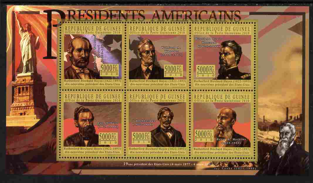 Guinea - Conakry 2010-11 Presidents of the USA #19 - Rutherford B Hayes perf sheetlet containing 6 values unmounted mint Michel 8024-29