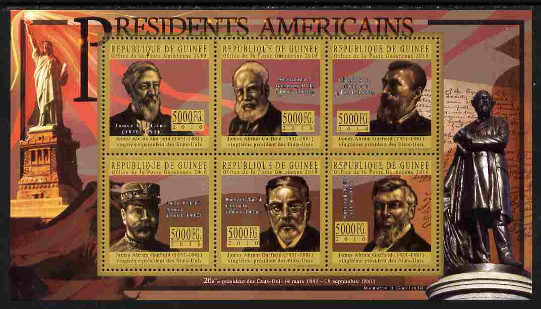 Guinea - Conakry 2010-11 Presidents of the USA #20 - James A Garfield perf sheetlet containing 6 values unmounted mint Michel 8030-35