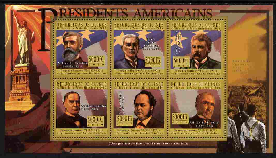 Guinea - Conakry 2010-11 Presidents of the USA #23 - Benjamin Harrison perf sheetlet containing 6 values unmounted mint Michel 8048-53