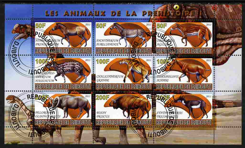 Djibouti 2011 Prehistoric Animals #1 perf sheetlet containing 9 values fine cto used