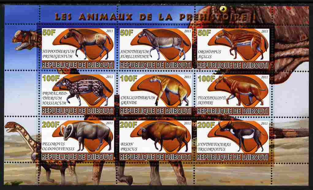 Djibouti 2011 Prehistoric Animals #1 perf sheetlet containing 9 values unmounted mint