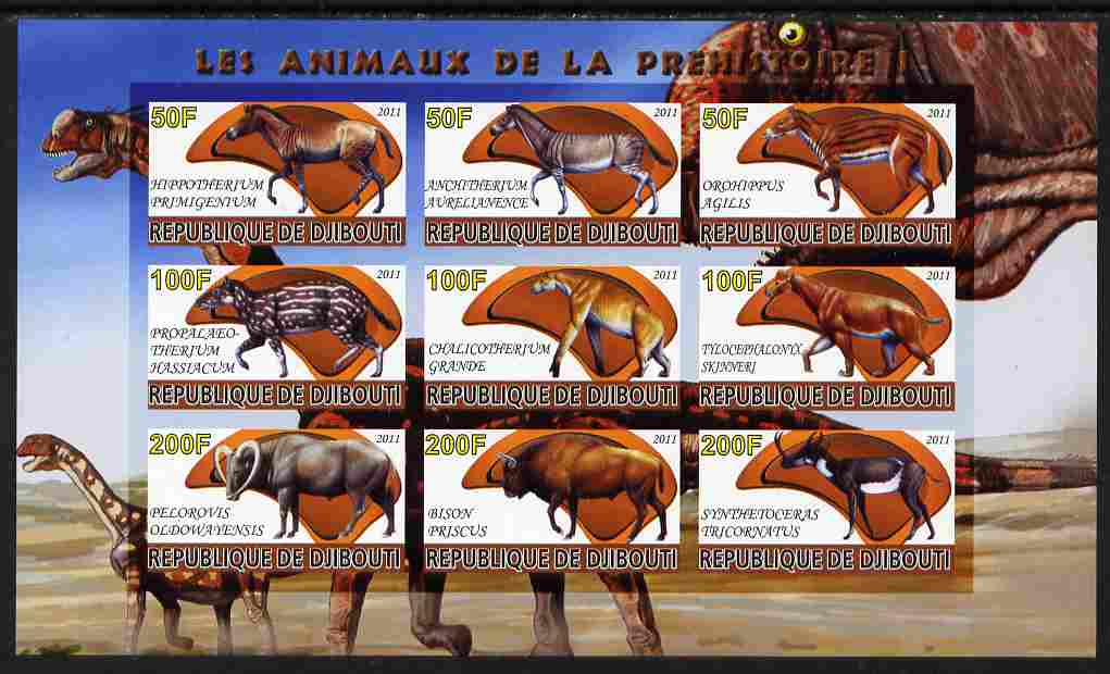 Djibouti 2011 Prehistoric Animals #1 imperf sheetlet containing 9 values unmounted mint