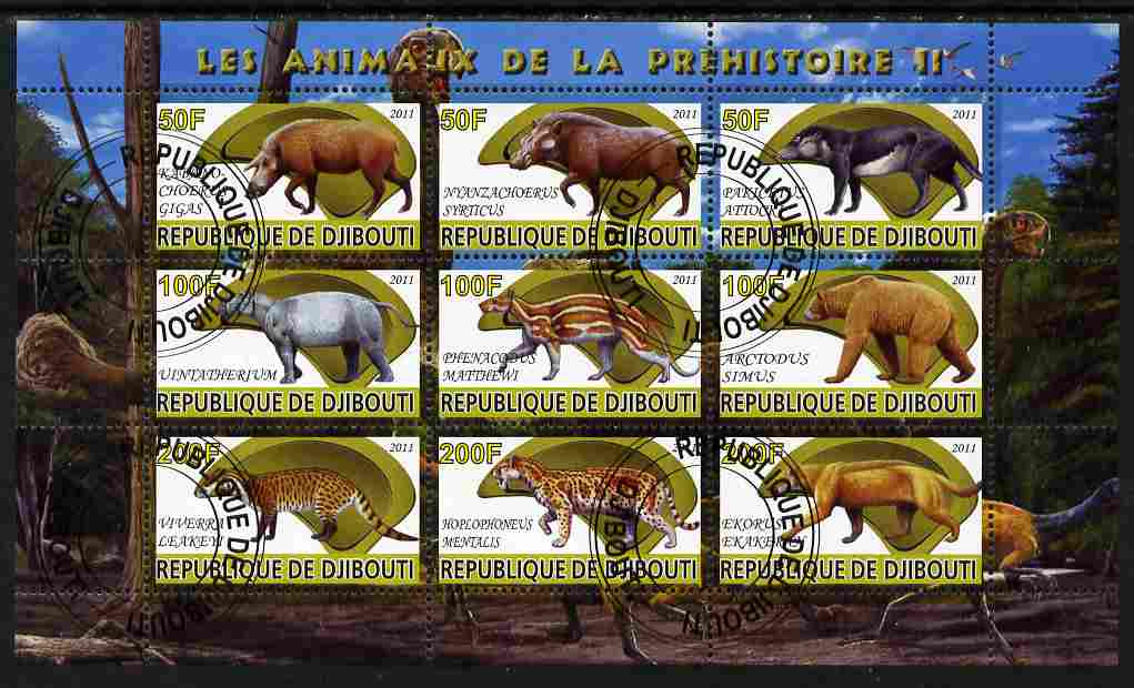 Djibouti 2011 Prehistoric Animals #2 perf sheetlet containing 9 values fine cto used