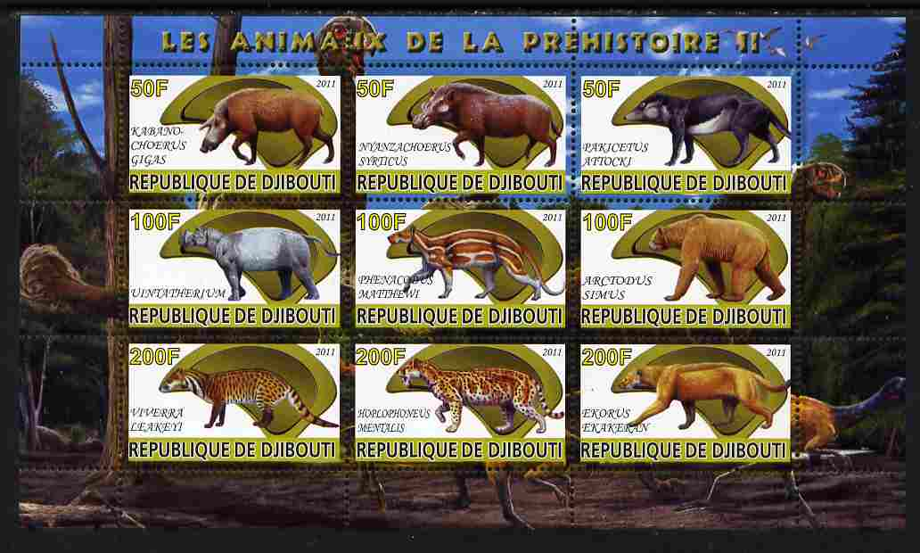 Djibouti 2011 Prehistoric Animals #2 perf sheetlet containing 9 values unmounted mint