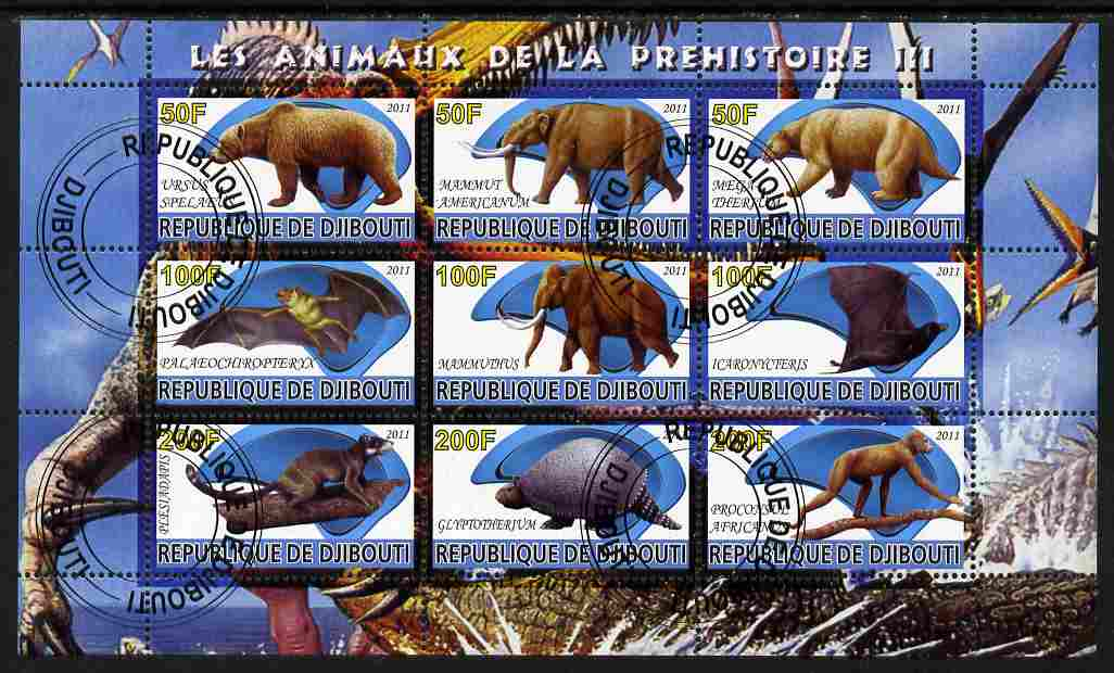 Djibouti 2011 Prehistoric Animals #3 perf sheetlet containing 9 values fine cto used