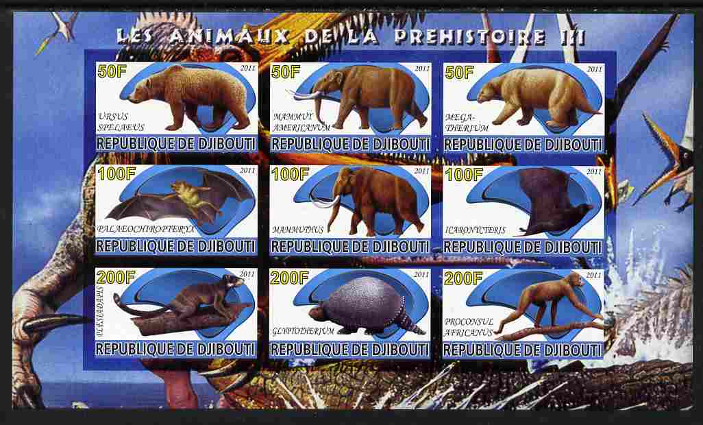 Djibouti 2011 Prehistoric Animals #3 imperf sheetlet containing 9 values unmounted mint
