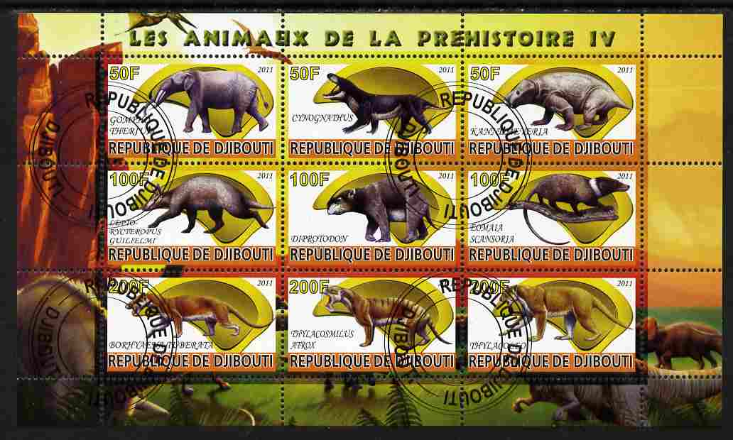 Djibouti 2011 Prehistoric Animals #4 perf sheetlet containing 9 values fine cto used