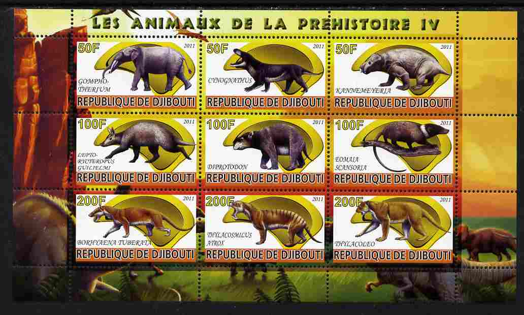 Djibouti 2011 Prehistoric Animals #4 perf sheetlet containing 9 values unmounted mint
