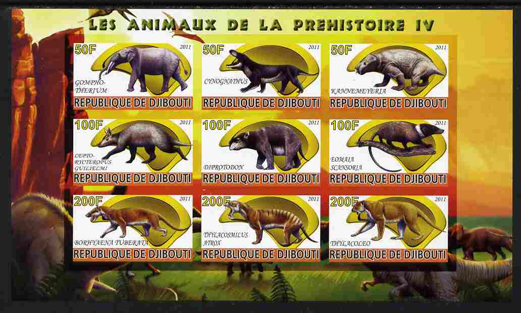 Djibouti 2011 Prehistoric Animals #4 imperf sheetlet containing 9 values unmounted mint