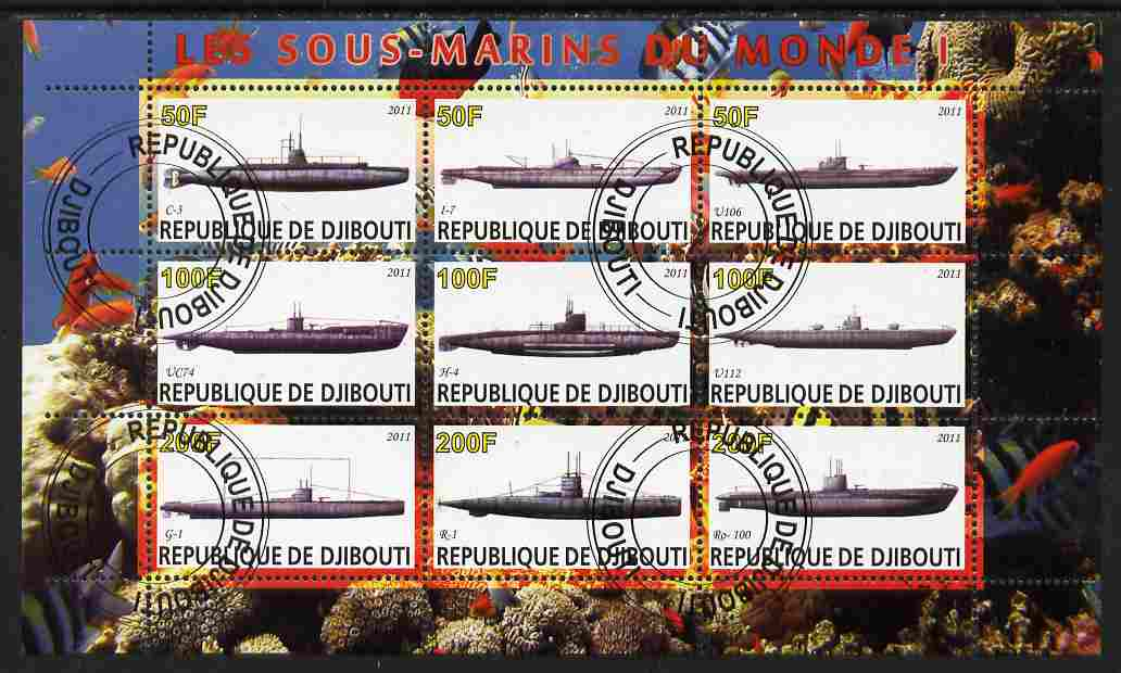 Djibouti 2011 Submarines #1 perf sheetlet containing 9 values fine cto used