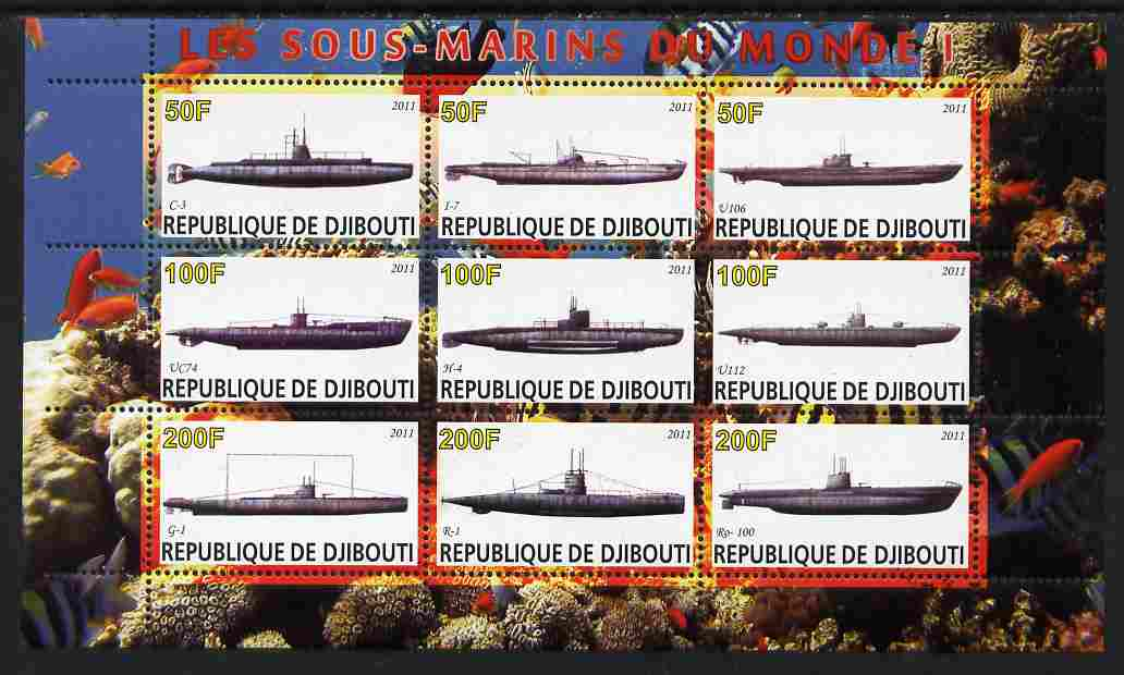 Djibouti 2011 Submarines #1 perf sheetlet containing 9 values unmounted mint