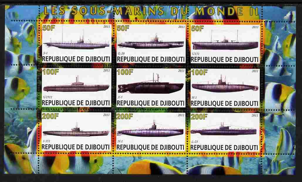 Djibouti 2011 Submarines #2 perf sheetlet containing 9 values unmounted mint