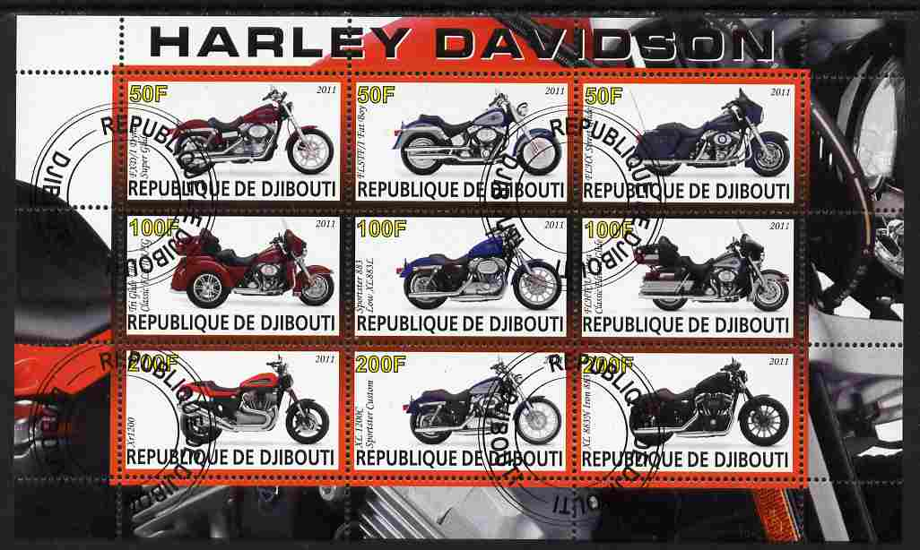 Djibouti 2011 Harley Davidson Motorcycles perf sheetlet containing 9 values fine cto used