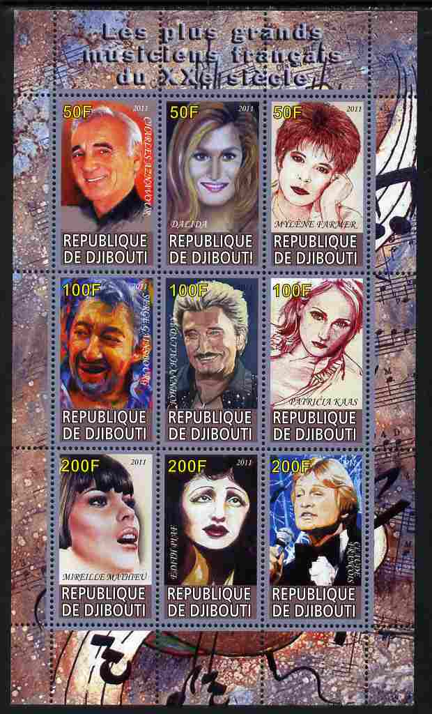 Djibouti 2011 French Music Stars perf sheetlet containing 9 values unmounted mint