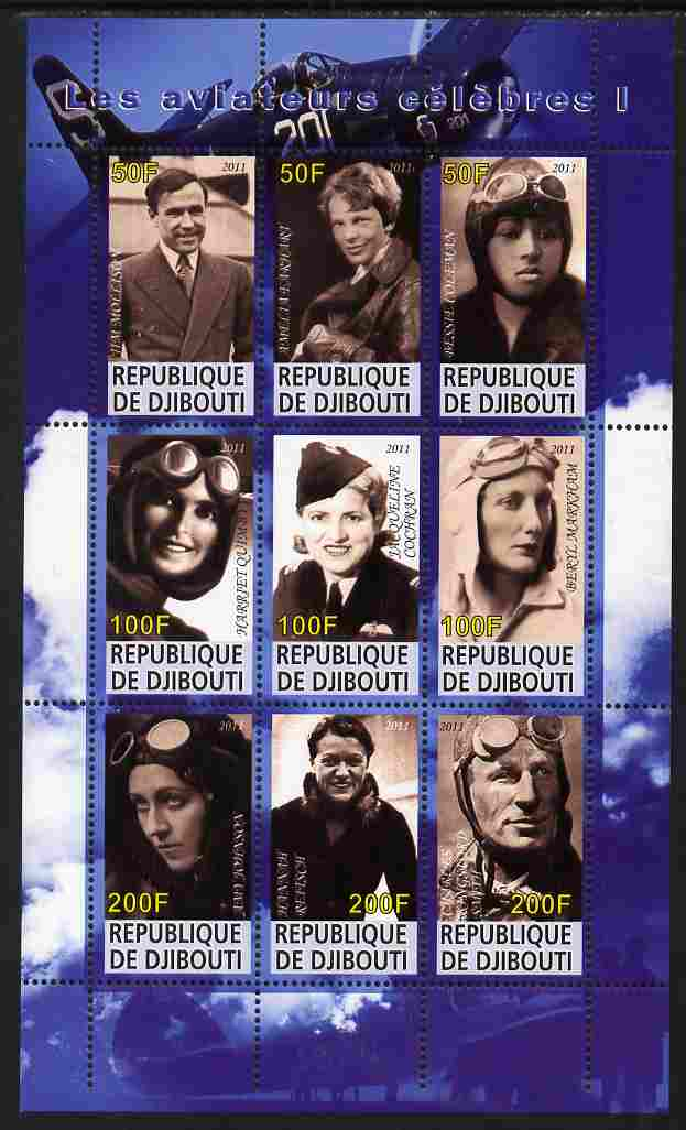 Djibouti 2011 Famous Aviators #1 perf sheetlet containing 9 values unmounted mint