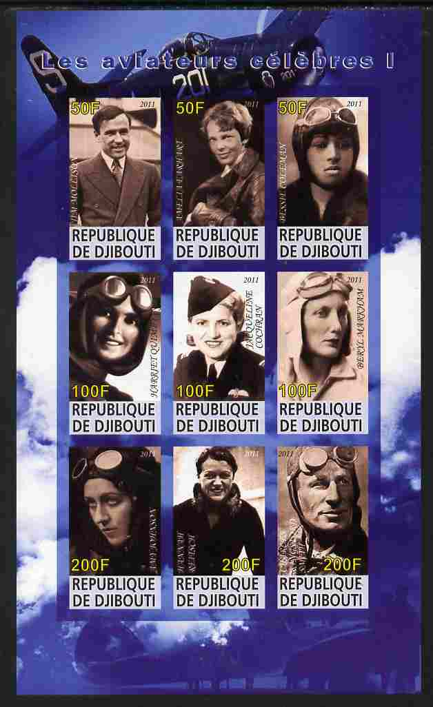 Djibouti 2011 Famous Aviators #1 imperf sheetlet containing 9 values unmounted mint