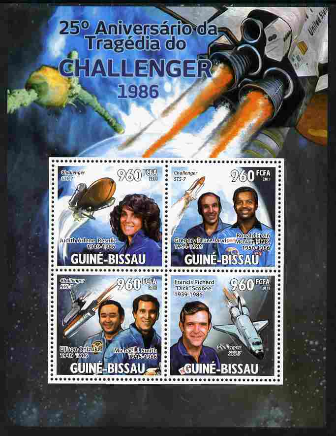 Guinea - Bissau 2011 25th Anniversary of Challenger Disaster perf sheetlet containing 4 values unmounted mint Michel 5308-11