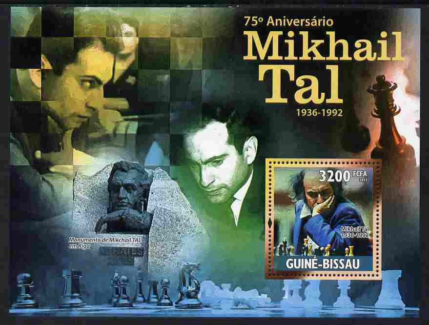 Guinea - Bissau 2011 75th Birth Anniversary of Mikhail Tal (chess) perf s/sheet unmounted mint Michel BL912