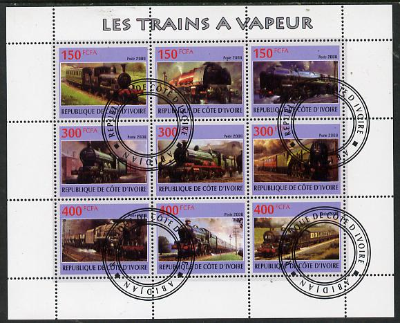 Ivory Coast 2009 Steam Locos perf sheetlet containing 9 values fine cto used