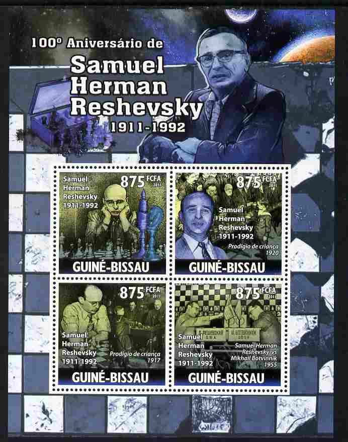 Guinea - Bissau 2011 100th Birth Anniversary of Samuel Reshevsky (chess) perf sheetlet containing 4 values unmounted mint Michel 5288-91
