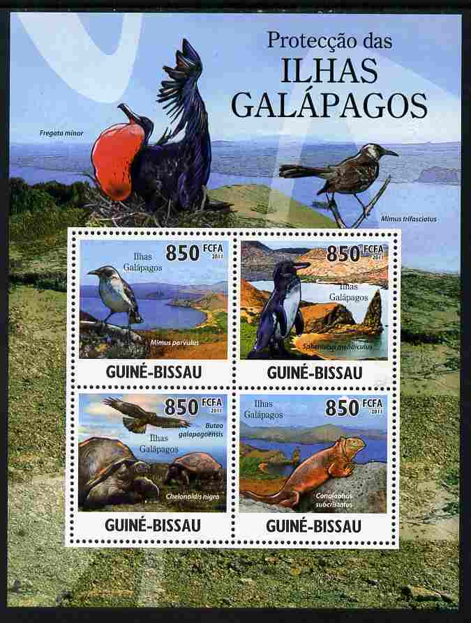 Guinea - Bissau 2011 Protection of Fauna on Galapagos Islands perf sheetlet containing 4 values unmounted mint Michel 5283-86
