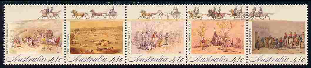 Australia 1990 Colonial Development (2nd issue), Gold Fever se-tenant strip of 5 unmounted mint, SG 1254a