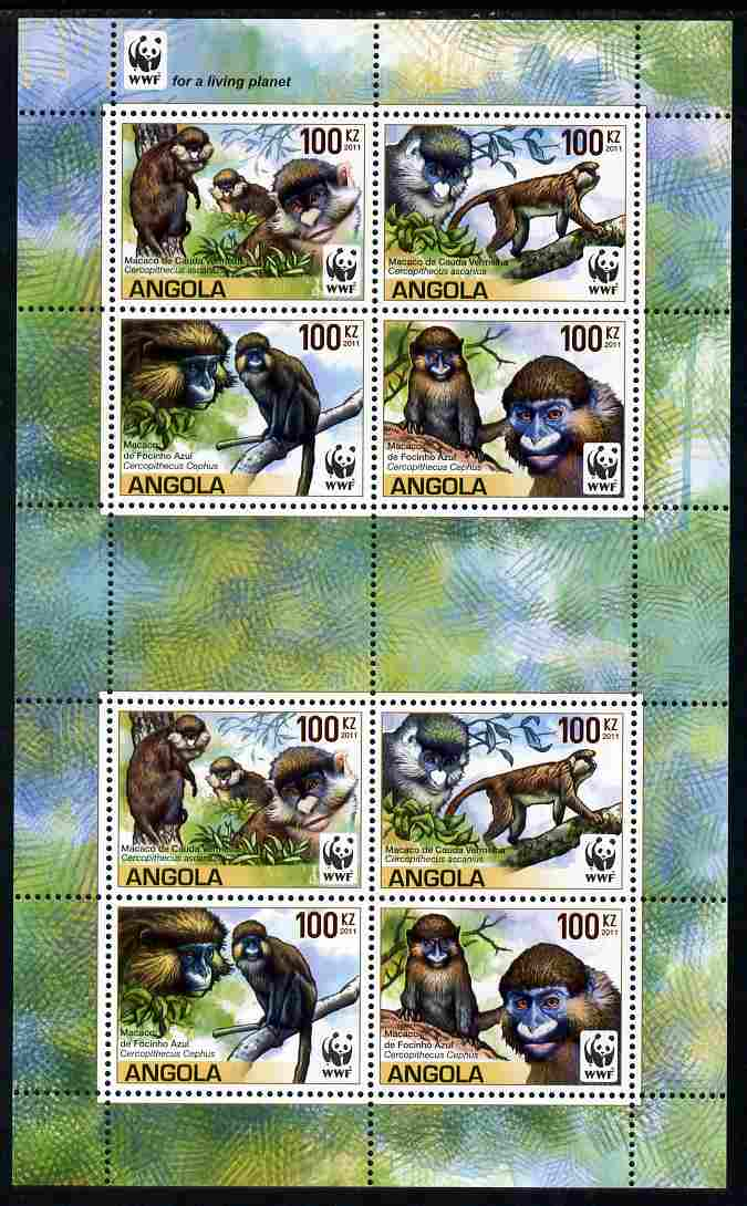 Angola 2011 WWF - Endangered Monkeys perf sheetlet containing 8 values (2 sets of 4) unmounted mint