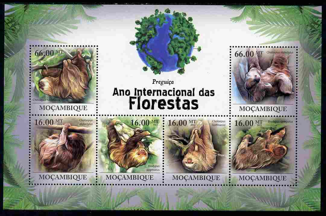 Mozambique 2011 International Year of the Forest - Sloths perf sheetlet containing 6 values unmounted mint, Michel 4403-08