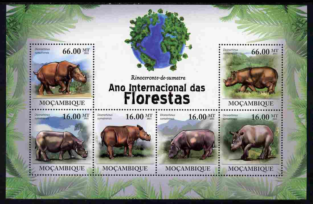 Mozambique 2011 International Year of the Forest - Rhinoceros perf sheetlet containing 6 values unmounted mint, Michel 4385-90