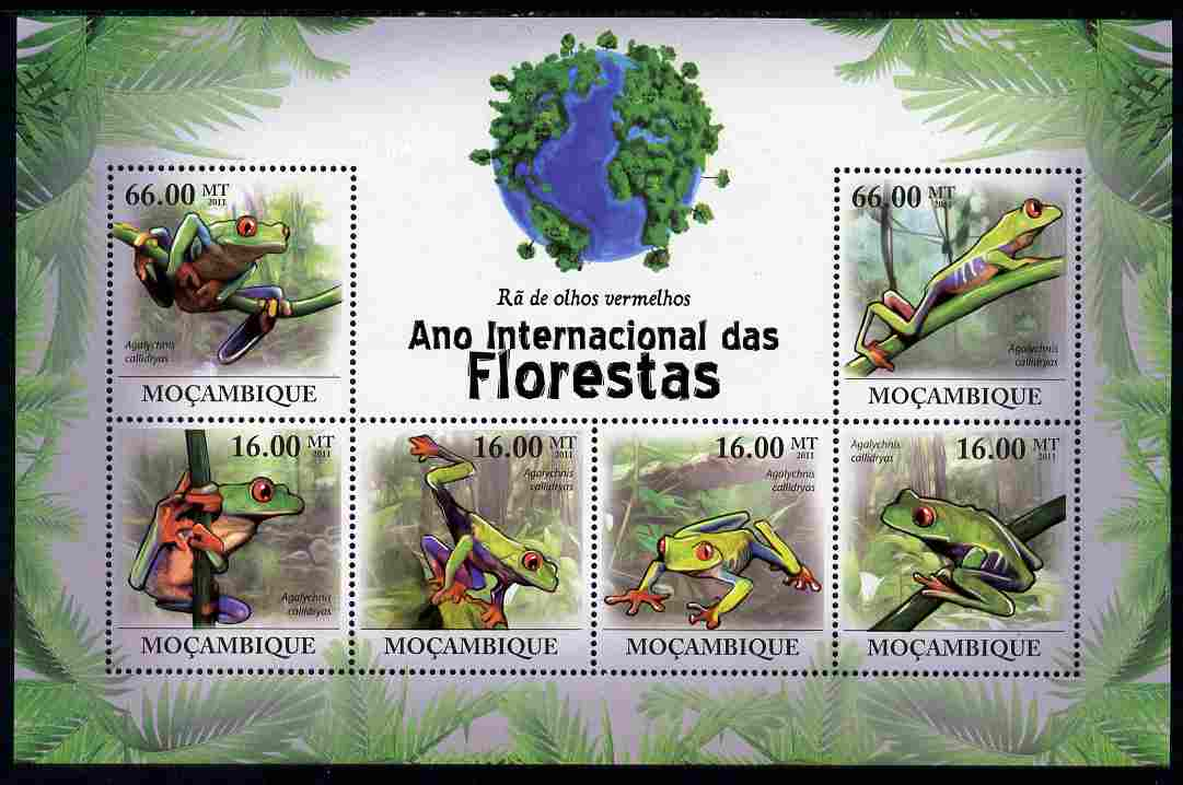 Mozambique 2011 International Year of the Forest - Red-eyed Tree Frog perf sheetlet containing 6 values unmounted mint, Michel 4294-99