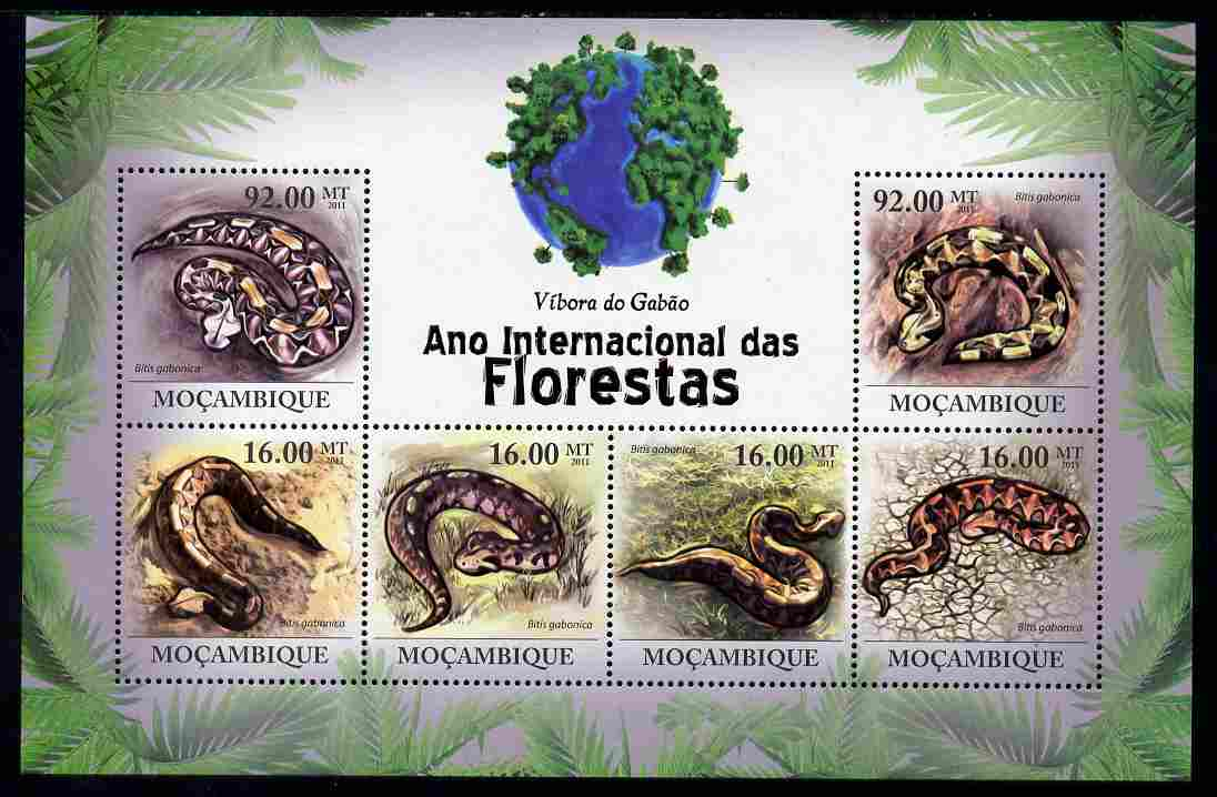 Mozambique 2011 International Year of the Forest - Snakes perf sheetlet containing 6 values unmounted mint, Michel 4328-33
