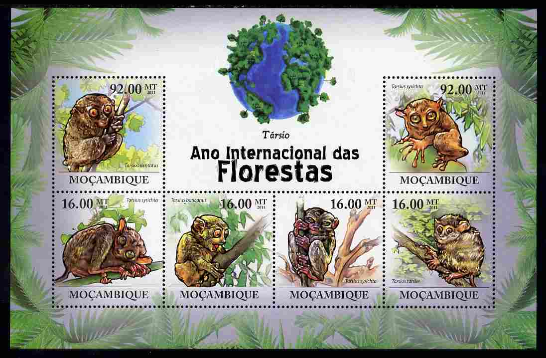 Mozambique 2011 International Year of the Forest - Tarsiers perf sheetlet containing 6 values unmounted mint, Michel 4439-44