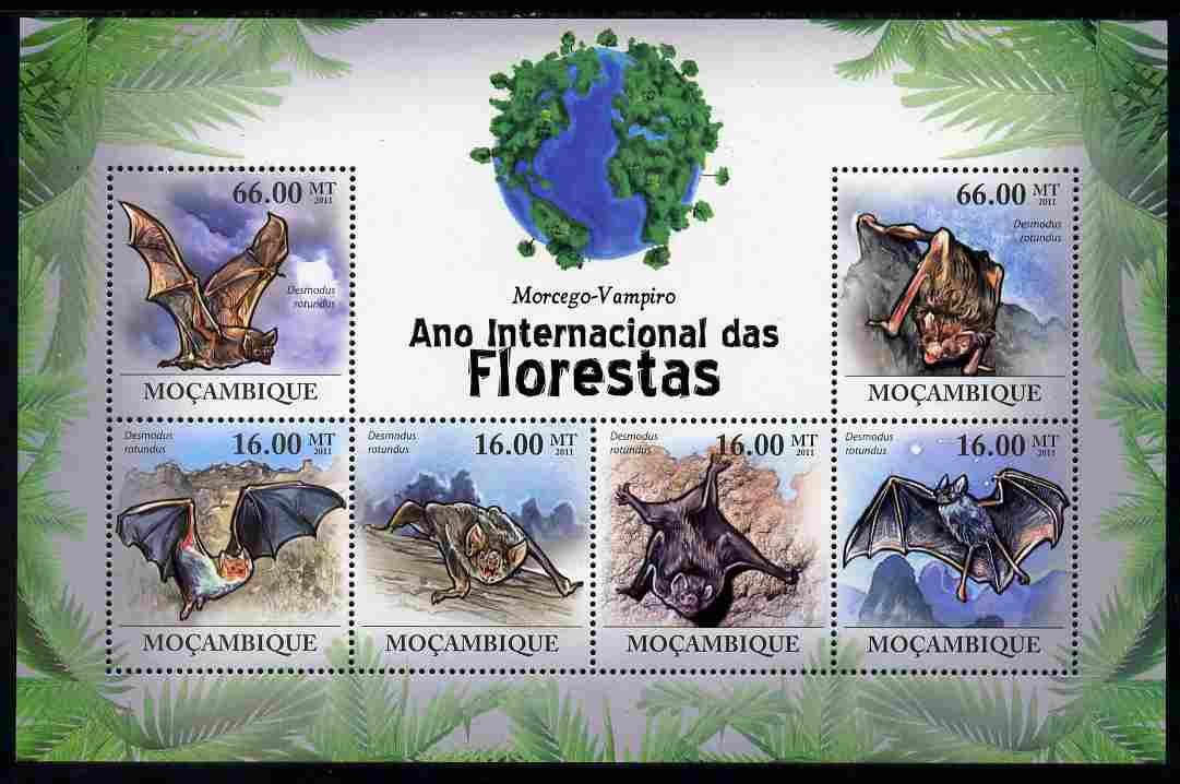 Mozambique 2011 International Year of the Forest - Vampire Bats perf sheetlet containing 6 values unmounted mint, Michel 4391-96
