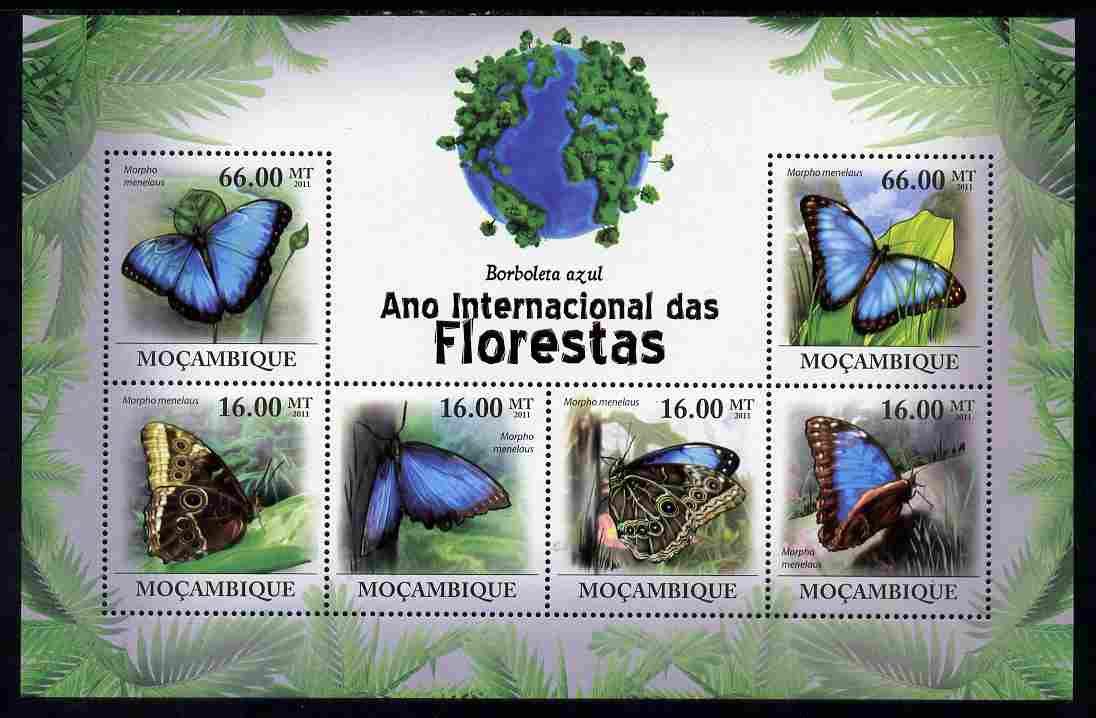 Mozambique 2011 International Year of the Forest - Butterflies perf sheetlet containing 6 values unmounted mint, Michel 4264-69