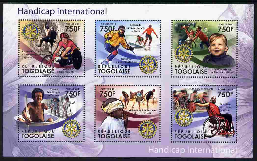 Togo 2011 Handicap International perf sheetlet containing 6 values each with Rotary Logo unmounted mint
