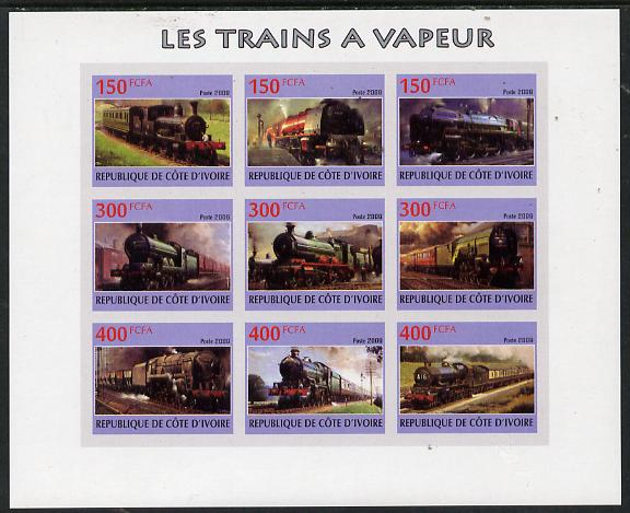 Ivory Coast 2009 Steam Locos imperf sheetlet containing 9 values unmounted mint