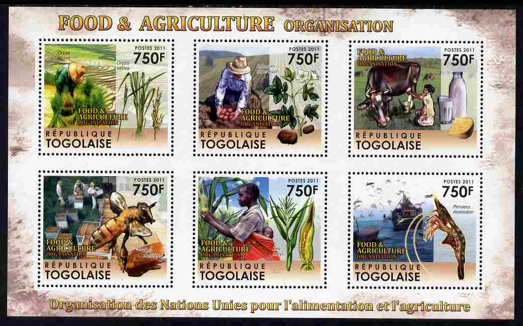 Togo 2011 Food & Agriculture perf sheetlet containing 6 values unmounted mint