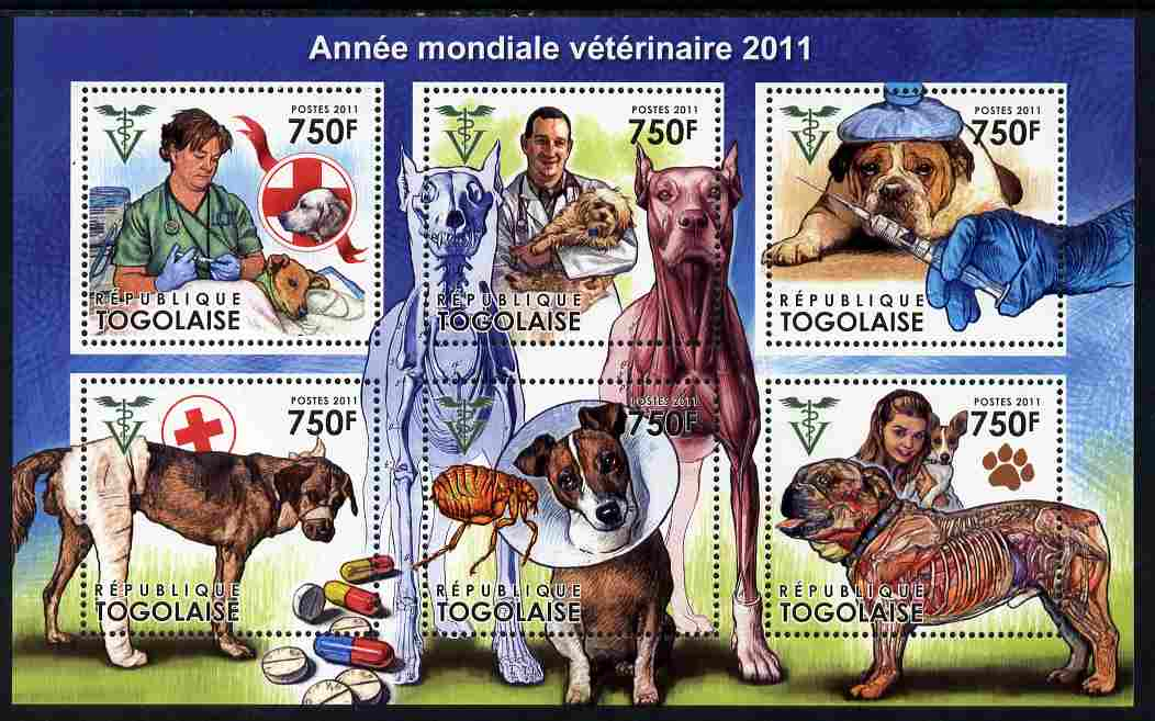 Togo 2011 World Veterinary Year perf sheetlet containing 6 values unmounted mint