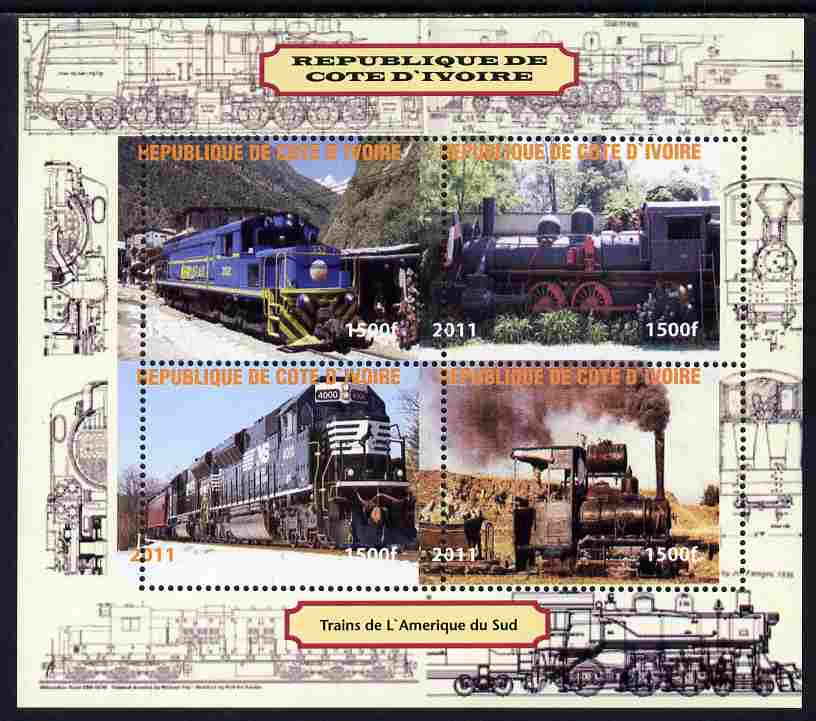Ivory Coast 2011 Railways - Trains of South America perf sheetlet containing 4 values unmounted mint. Note this item is privately produced and is offered purely on its thematic appeal, it has no postal validity
