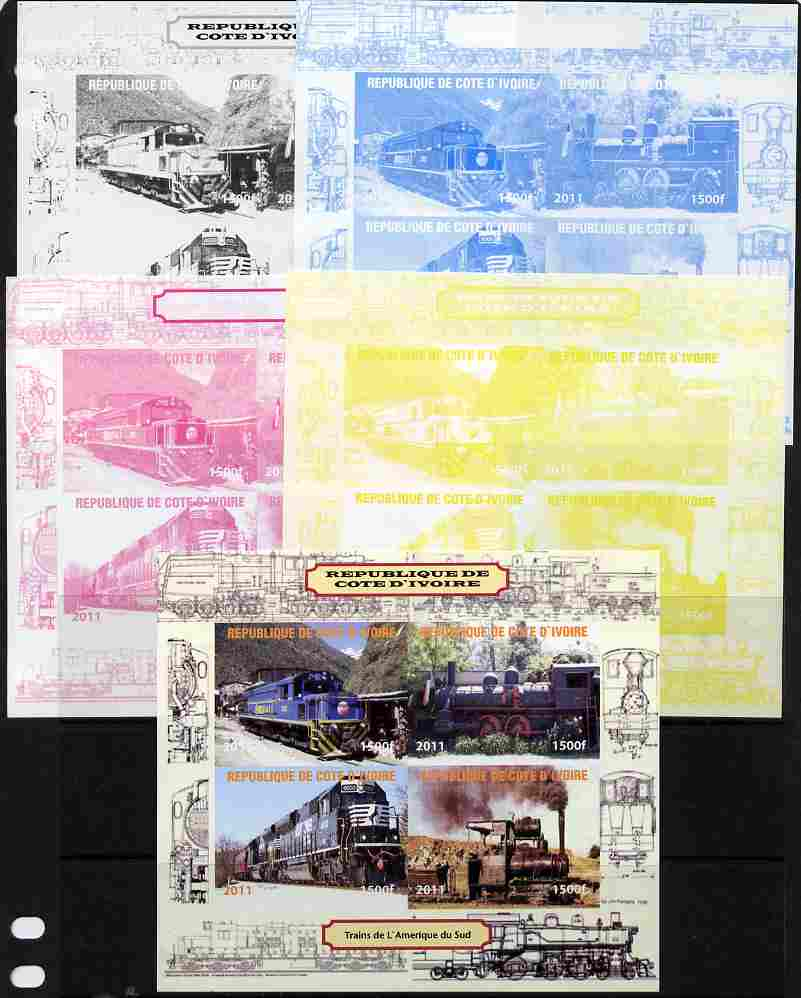Ivory Coast 2011 Railways - Trains of South America sheetlet containing 4 values - the set of 5 imperf progressive proofs comprising the 4 individual colours plus all 4-colour composite, unmounted mint