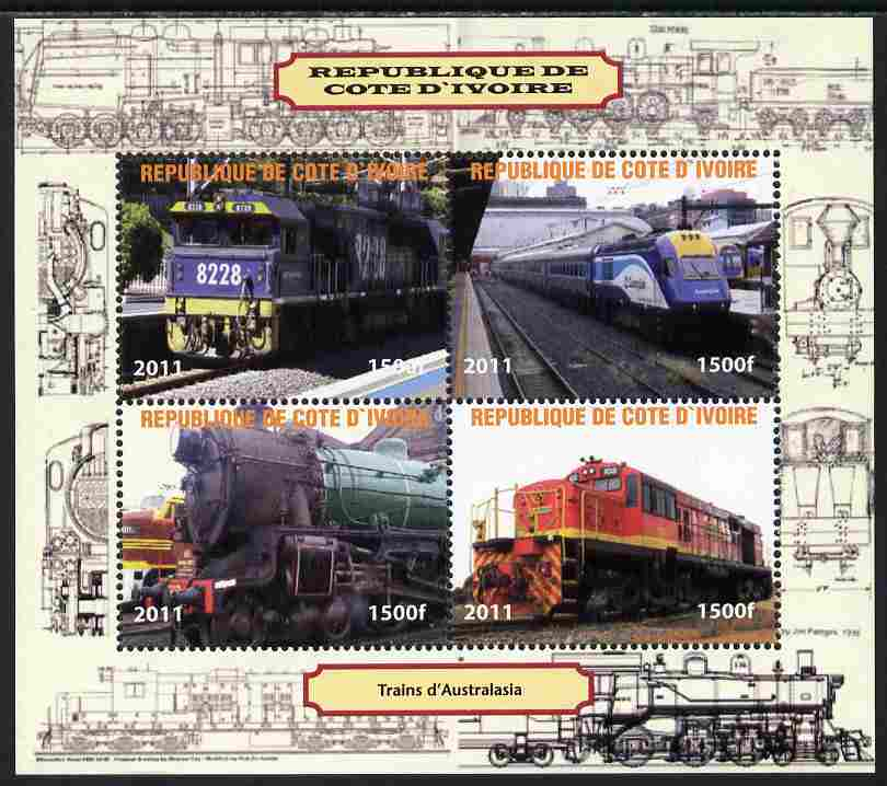 Ivory Coast 2011 Railways - Trains of Australasia perf sheetlet containing 4 values unmounted mint. Note this item is privately produced and is offered purely on its thematic appeal