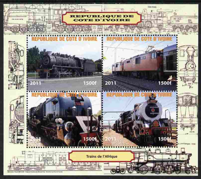 Ivory Coast 2011 Railways - Trains of Africa perf sheetlet containing 4 values unmounted mint. Note this item is privately produced and is offered purely on its thematic appeal