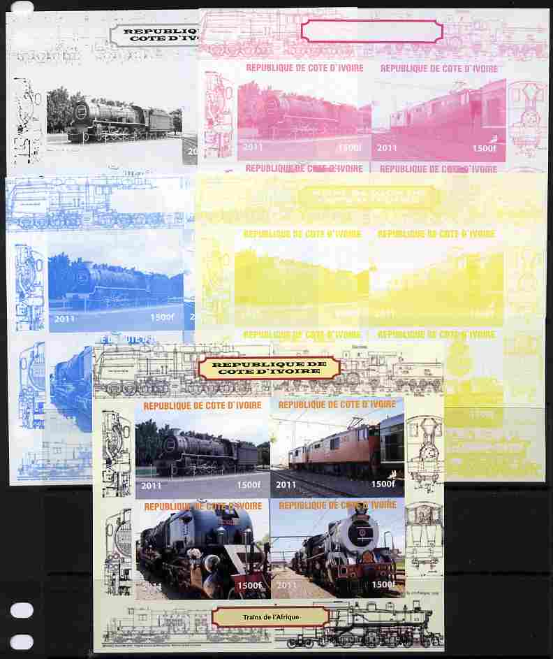 Ivory Coast 2011 Railways - Trains of Africa sheetlet containing 4 values - the set of 5 imperf progressive proofs comprising the 4 individual colours plus all 4-colour composite, unmounted mint