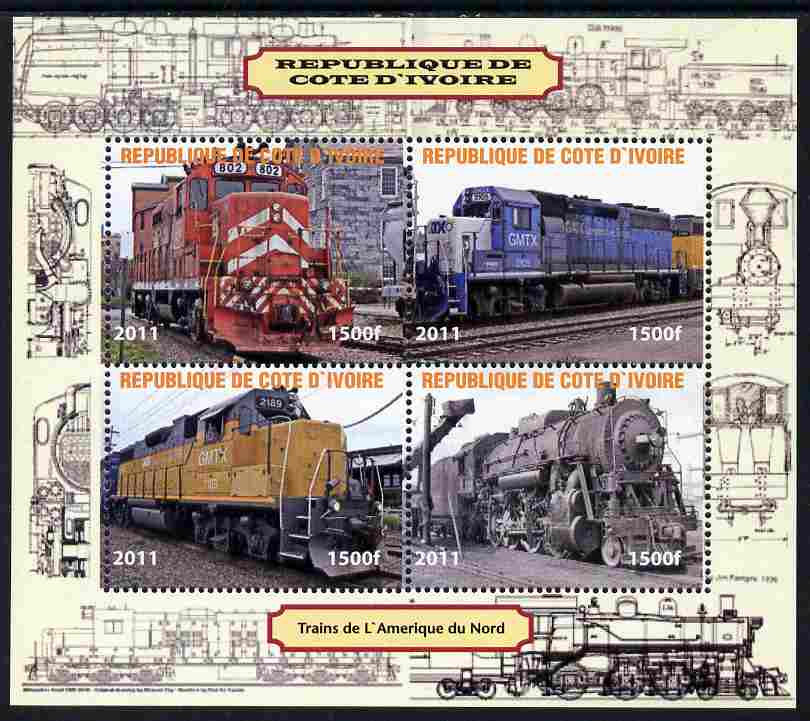 Ivory Coast 2011 Railways - Trains of North America perf sheetlet containing 4 values unmounted mint. Note this item is privately produced and is offered purely on its thematic appeal, it has no postal validity
