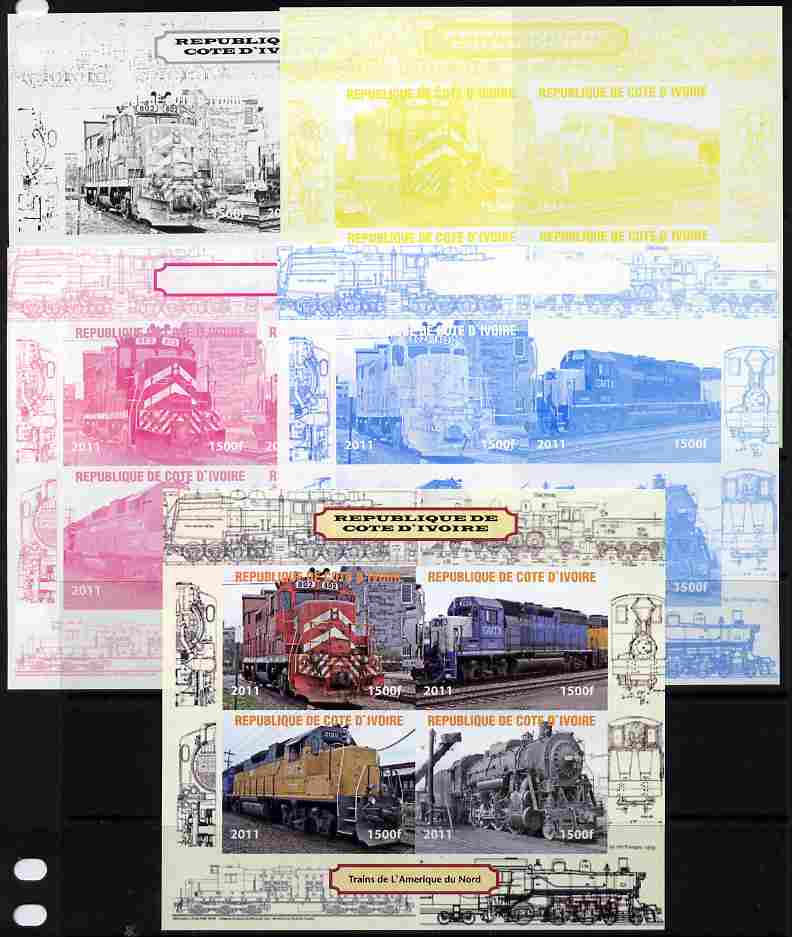 Ivory Coast 2011 Railways - Trains of North America sheetlet containing 4 values - the set of 5 imperf progressive proofs comprising the 4 individual colours plus all 4-colour composite, unmounted mint